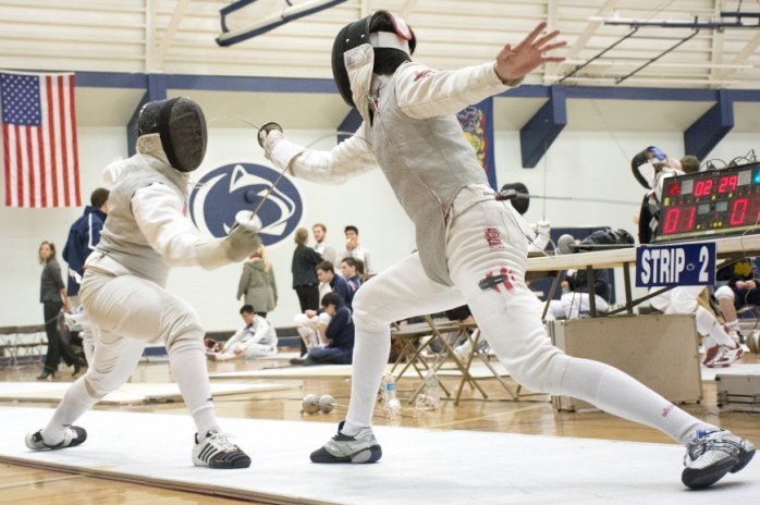 Sophomore foil Howie Ho Yin Chan from Hong Kong battling at the 2015 Penn State Garret Open (Photo: Jen Hudson)