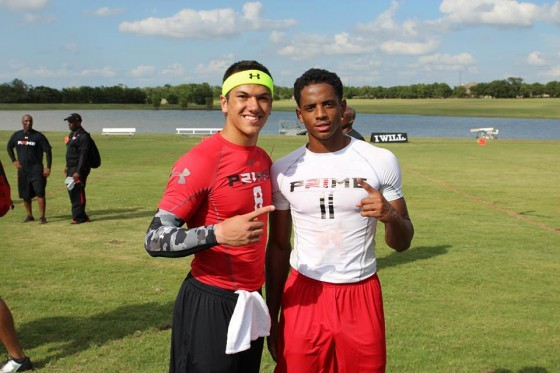 Zembiec poses with Cordell Broadus, son of rapper Snoop Dogg, at Deion Sanders' football camp. (Via Facebook.com)