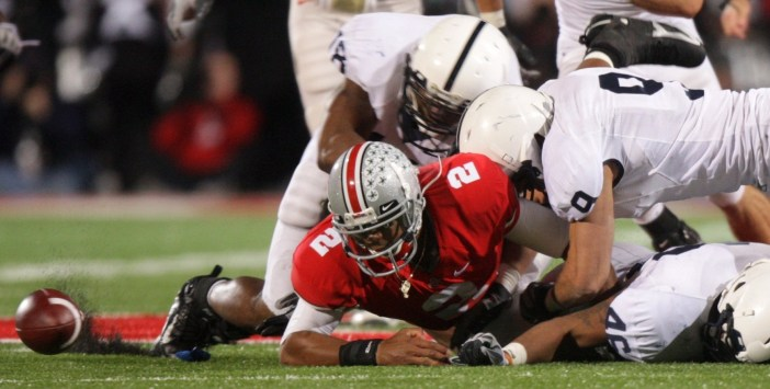 Rubin's forced fumble helped the Nittany Lions turn the tides in Columbus. (Image: Jay LaPrete/Associated Press)