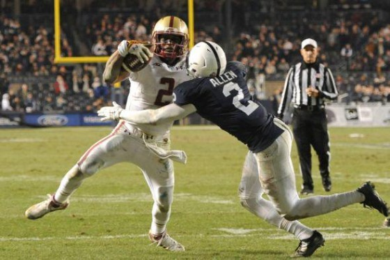 Marcus Allen wraps up Boston College QB Tyler Murphy in Penn State's Pinstripe Bowl victory. Via @pennst_fb_fanly/twitter.com