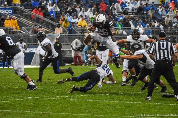 The first home is a rainy one, but Penn State wins 27-14 over Buffalo. Saquon Barkley makes a name for himself with his famous leap.