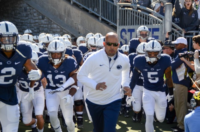Coach James Franklin leads the team through the tunnel at the beginning of the game.