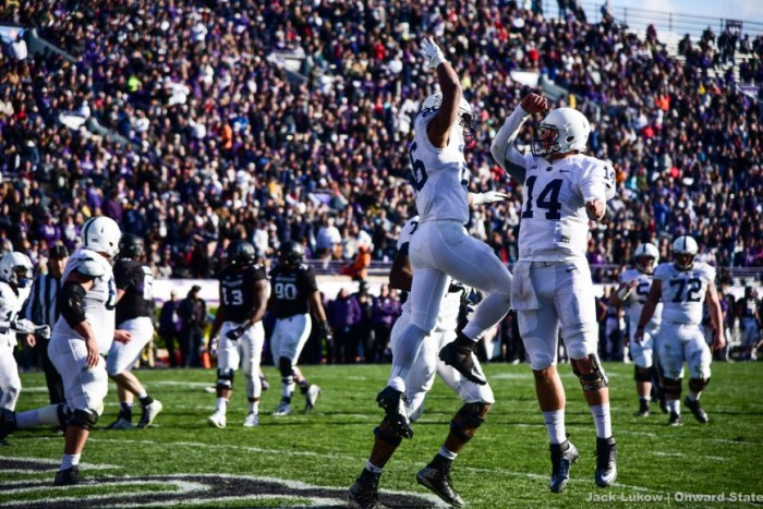 Hackenberg and Saquon Celebrate Football Stock Northwestern