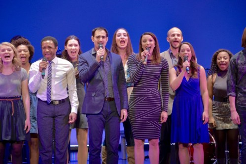 "From left to right: Higgins, Lucrezio, Bowman, and Veldheer sing ""Our Time,"" with the rest of the company."