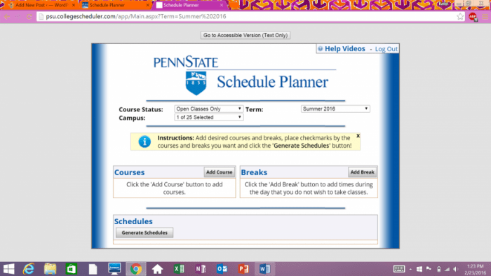 The Schedule Planner available on eLion.