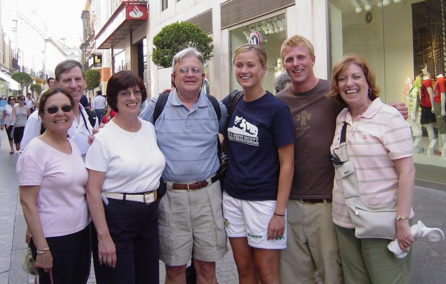 From left to right: Aviva & Barry Kesselman; Florence & David Hoffritz; the 2 Penn State Students; and Ilene Beckman in Sevilla, Spain