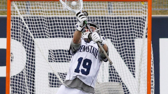 Penn State goalkeeper Will Schreiner (19) makes a save in sudden victory overtime against Harvard on March 12, 2016. The Nittany Lions upset No. 8 Harvard 13-12 in sudden victory overtime. Photo/Craig houtz