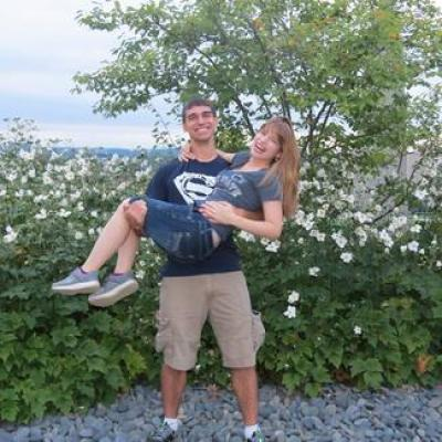 Kristen Myatt and Nick Gruber right after Gruber proposed at Penn State's Arboretum (Photo: Kristen Myatt).