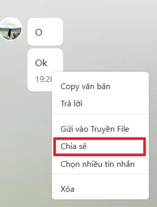 Cách 2: Nhấn chuột phải vào tin nhắn và chọn Chia sẻ