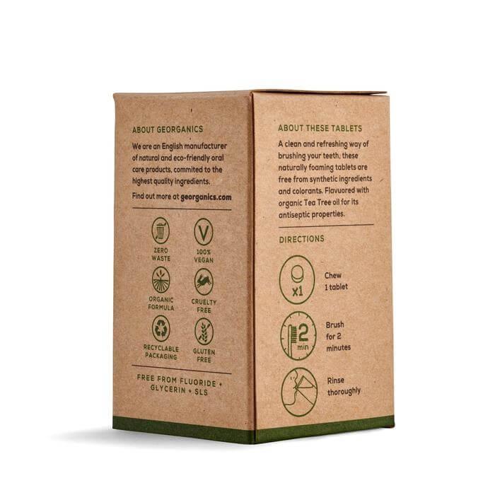 georganics toothpaste tabs tea tree box backside