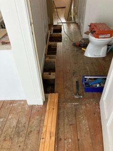 Plumbing work in storage rooms