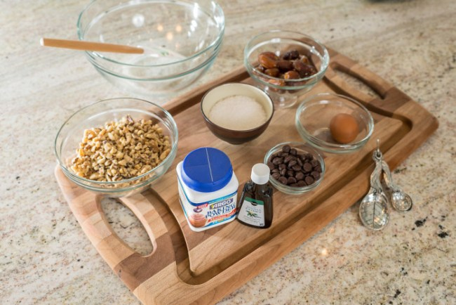 Cookie ingredients for date walnut cookies