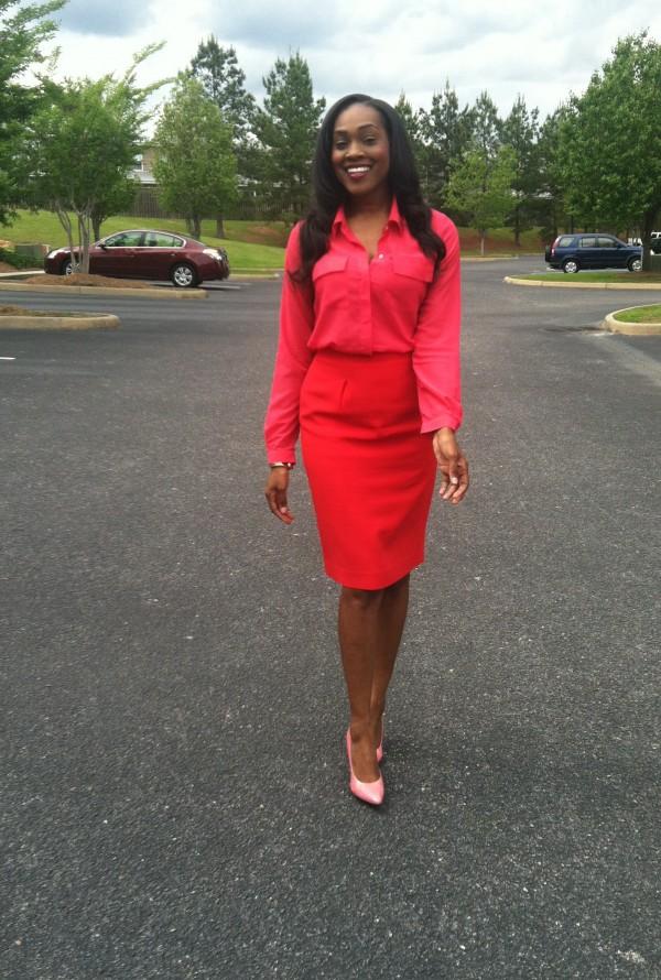 hot-pink-silk-blouse-red-pencil-skirt-pink-bcbg-pumps-2