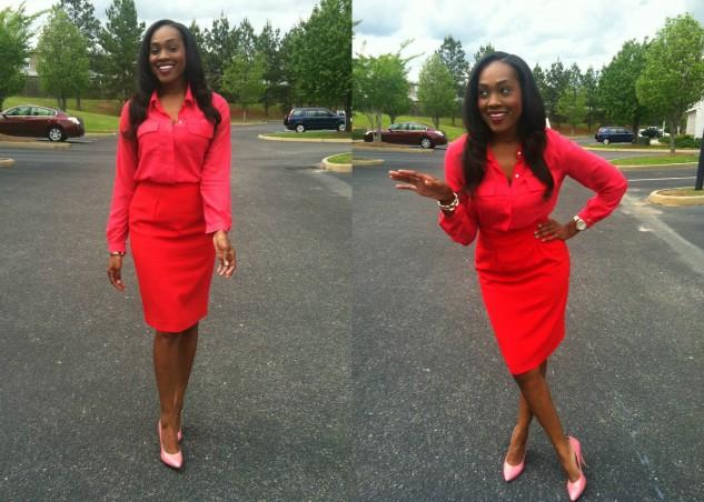 hot-pink-silk-blouse-red-pencil-skirt-pink-bcbg-pumps-7