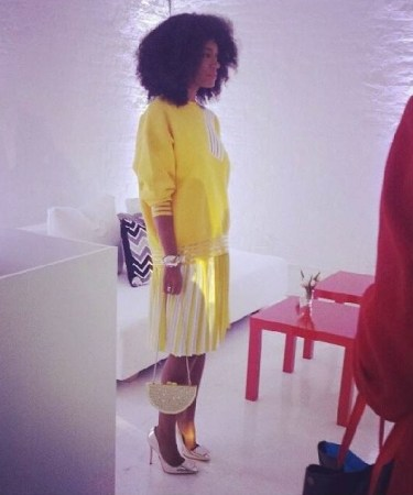 I-Love-Her-Look- Solange-Knowles-at- Q-Q-Launch-Event-in Christopher-Kane- Resort-2014-Kate- Spade-Bag-Acne- Studios-Heels-7