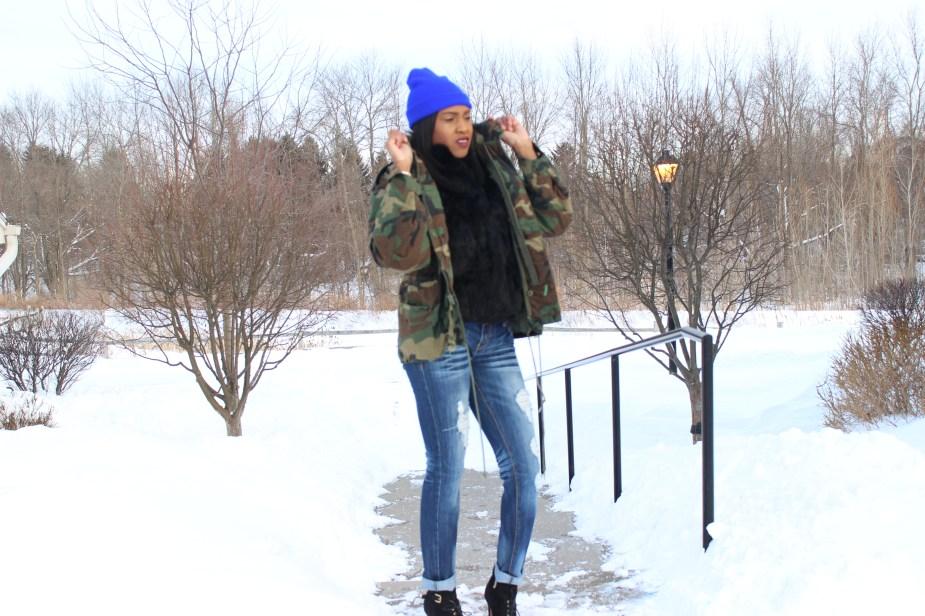 Army Fatigue Coat-black-Faux-fur-coat-distressed-jeans-sam edelman-uma-booties, royal-blue-beanie-4