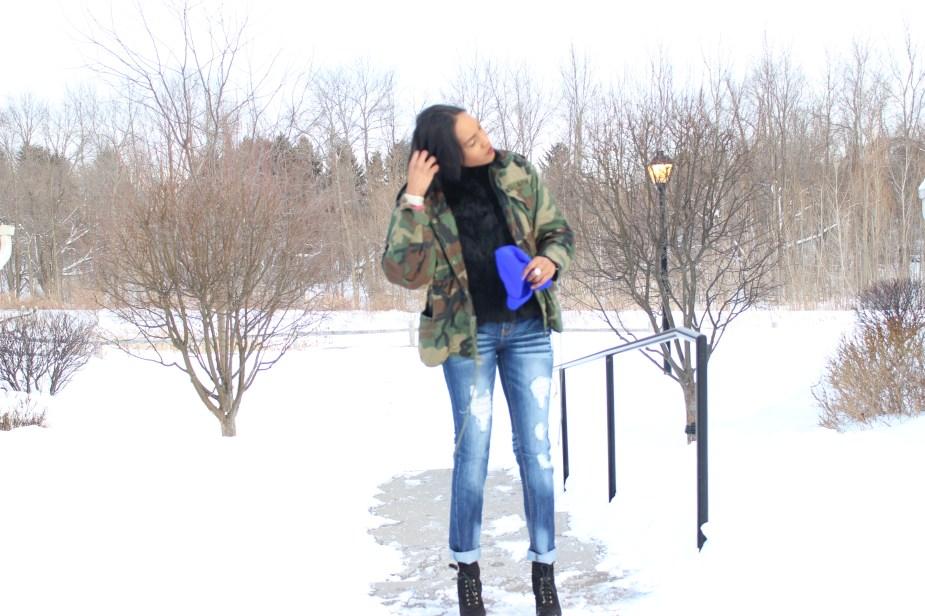 Army Fatigue Coat-black-Faux-fur-coat-distressed-jeans-sam edelman-uma-booties, royal-blue-beanie-5