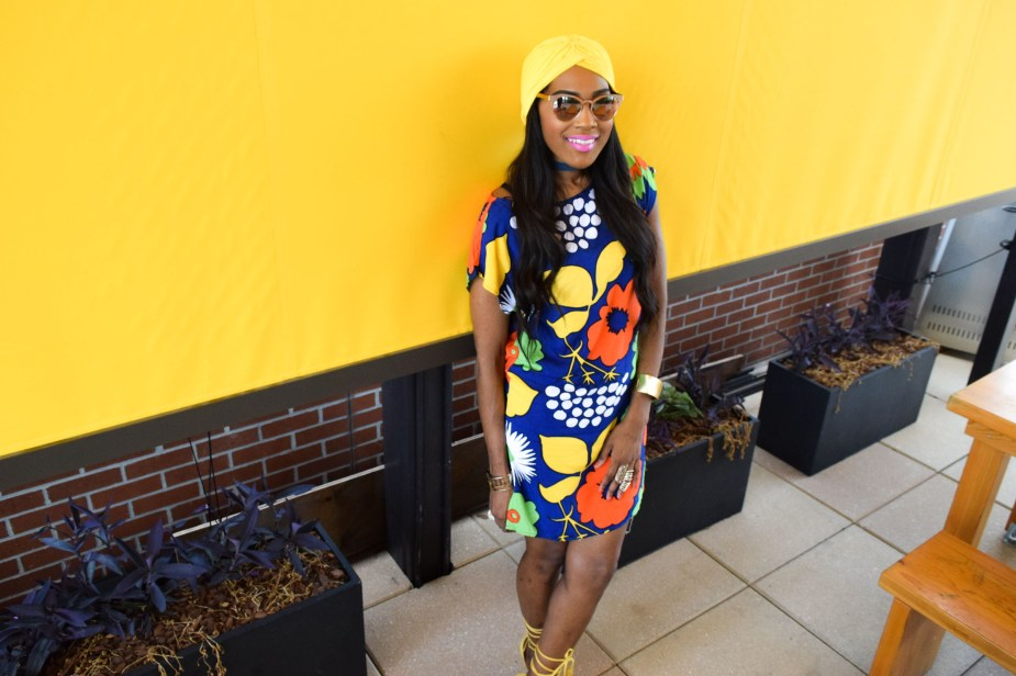 Style-Files-Target-Marimeko-collection -floral-tunic-justfab-tayrey-yellow-fringe-heels-sandals-yellow-turban-asos-denim-choker-oohlalablog-6