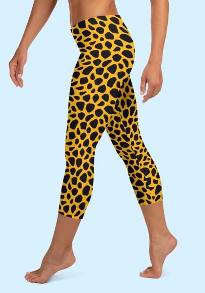 Woman wearing unique Leopard Zouk Capri Leggings designed by Ooh La La Zouk. Left side barefoot view (2).