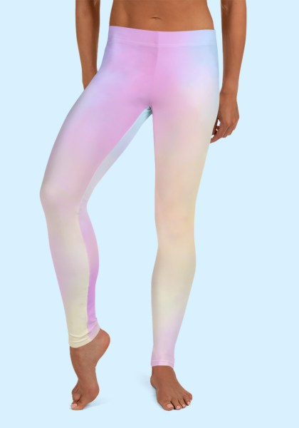 Woman wearing unique Cotton Candy Zouk Leggings designed by Ooh La La Zouk. Front barefoot view (2).