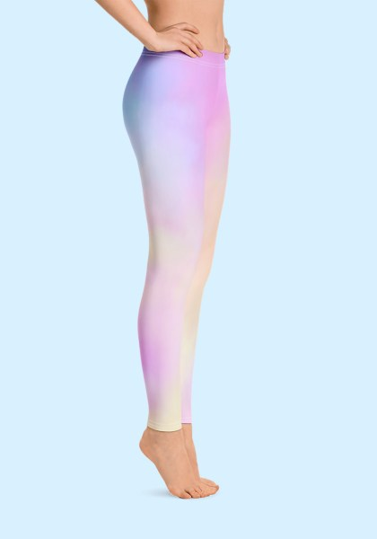 Woman wearing unique Cotton Candy Zouk Leggings designed by Ooh La La Zouk. Right side, barefoot view (1).