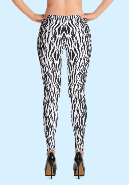 "Woman wearing Zouk Leggings decorated with a unique ""Animalistic Zouk"" design by Ooh La La Zouk. Back view (3) in high heels."