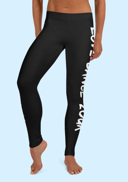 """Woman wearing Zouk Leggings decorated with a unique """"Love Dance Zouk"""" design. Front view (2). By Ooh La La Zouk."""