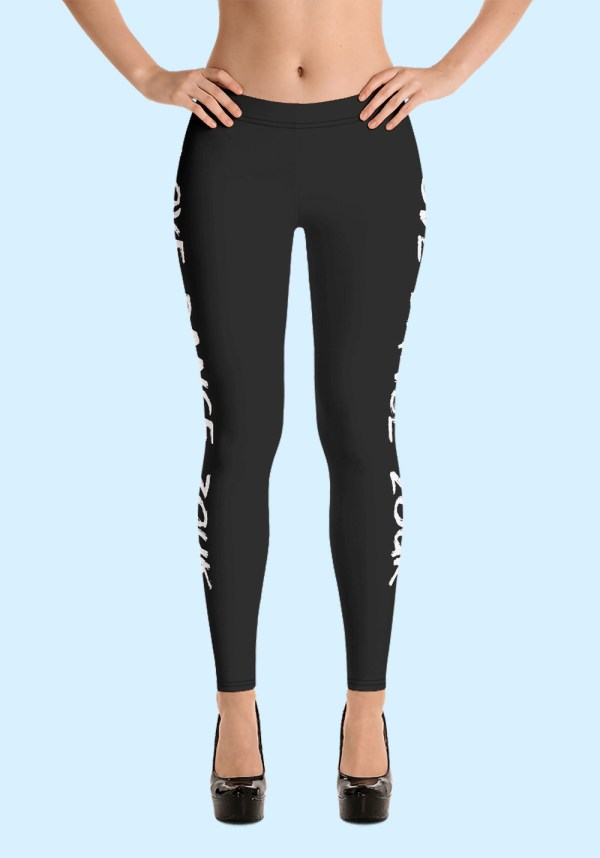 "Woman wearing Zouk Leggings decorated with a unique ""Love Dance Zouk"" design. Front view (3) in high-heels. By Ooh La La Zouk."