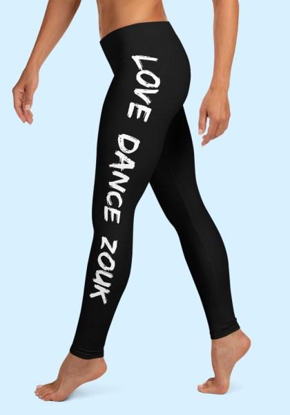 """Woman wearing Zouk Leggings decorated with a unique """"Love Dance Zouk"""" design. Left side view (2). By Ooh La La Zouk."""