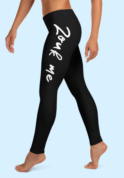 """Woman wearing Zouk Leggings decorated with a unique """"Zouk me"""" design. Left side view (2) barefoot. By Ooh La La Zouk."""