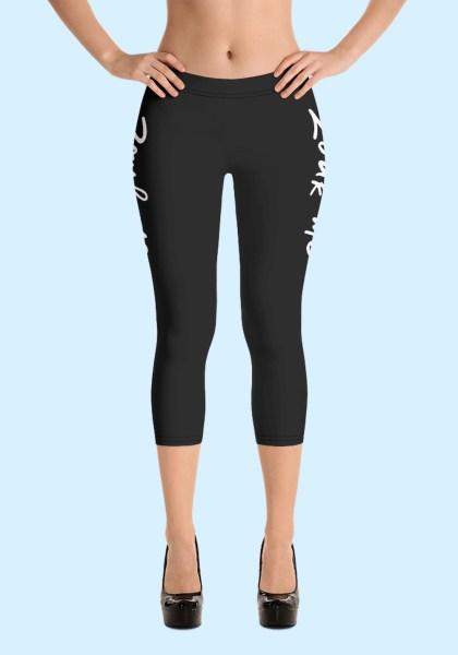 """Woman wearing Capri Zouk Leggings decorated with a unique """"Zouk me"""" design. Front view (3) high heels. By Ooh La La Zouk."""