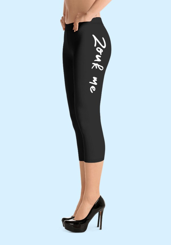 "Woman wearing Capri Zouk Leggings decorated with a unique ""Zouk me"" design. Left side view (3) high heels. By Ooh La La Zouk."