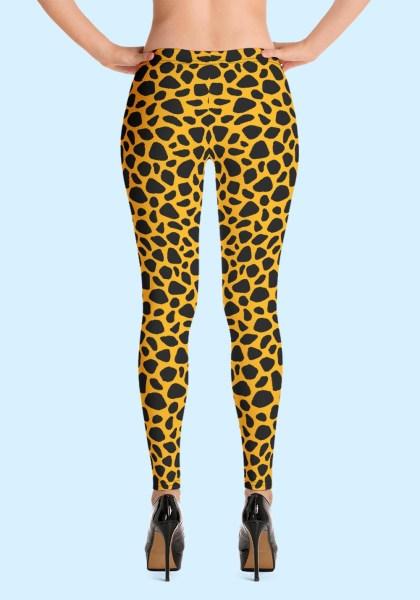 Woman wearing unique Leopard Zouk Leggings designed by Ooh La La Zouk. Back high heels view.