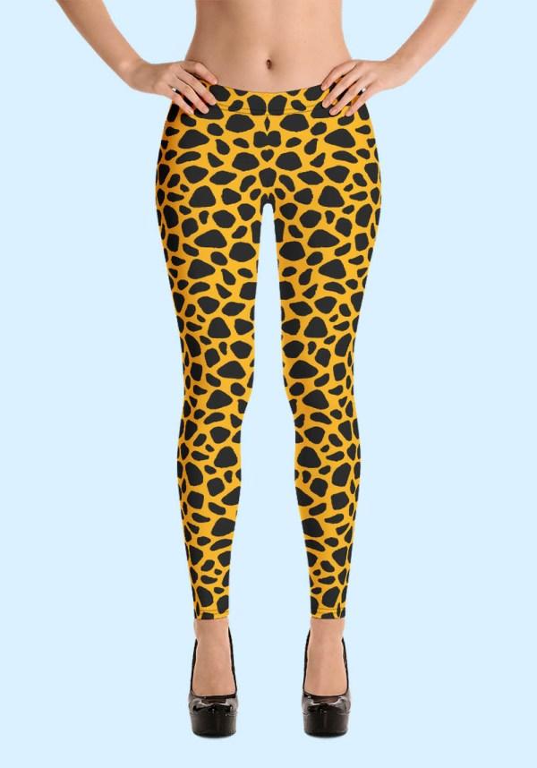 Woman wearing unique Leopard Zouk Leggings designed by Ooh La La Zouk. Front high heels view.