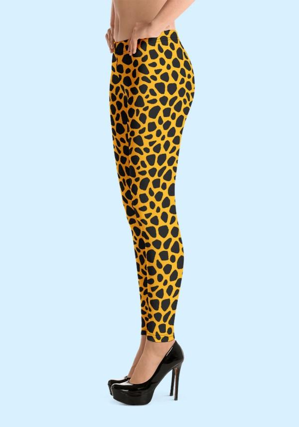 Woman wearing unique Leopard Zouk Leggings designed by Ooh La La Zouk. Left side high heels view.