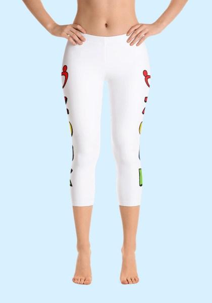"""Woman wearing unique """"me plus Zouk"""" Leggings designed by Ooh La La Zouk. Capri, Front, barefoot view (1)."""