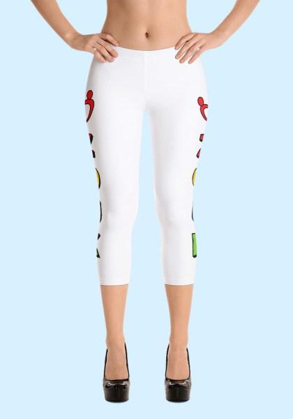 """Woman wearing unique """"me plus Zouk"""" Leggings designed by Ooh La La Zouk. Capri, Front, high heels view."""