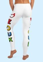 """Woman wearing unique """"me plus Zouk"""" Leggings designed by Ooh La La Zouk. Back barefoot view (2)."""