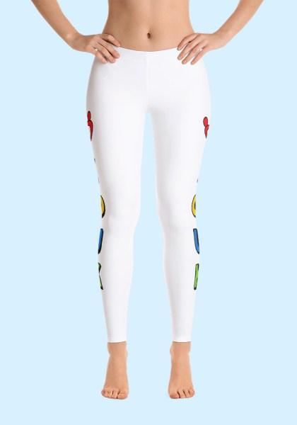 """Woman wearing unique """"me plus Zouk"""" Leggings designed by Ooh La La Zouk. Front barefoot view (1)"""