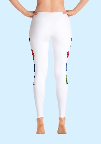 "Woman wearing unique ""me plus Zouk"" Leggings in bold and brave design by Ooh La La Zouk. Back, barefoot view 1."