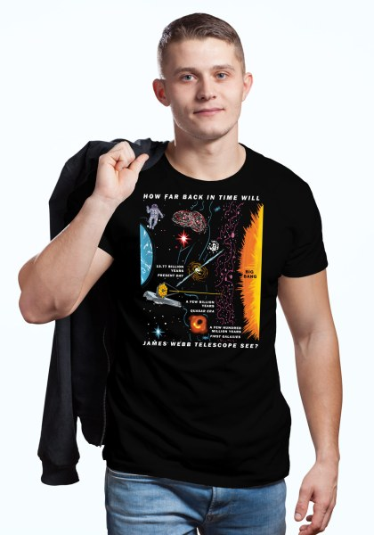 "Man wearing unique ""James Webb Space Telescope"" t-shirt in black crew neck style"