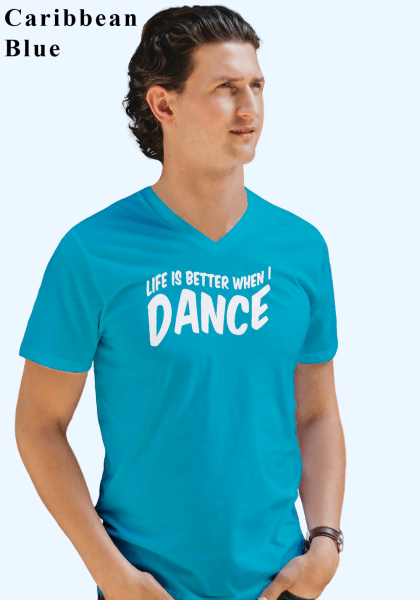 "Man wearing Zouk T-shirt decorated with unique ""Life is better when I Dance"" design in caribbean blue v-neck style"