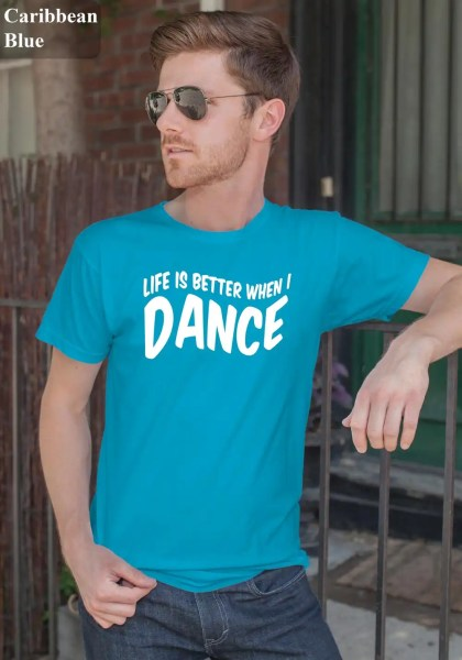 "Man wearing Zouk T-shirt decorated with unique ""Life is better when I Dance"" design in caribbean blue crew neck style"