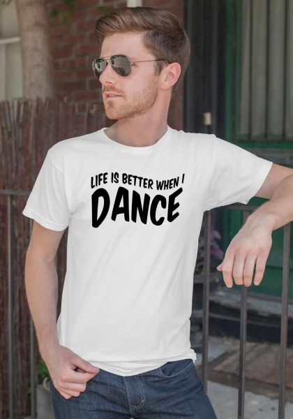 "Man wearing Zouk T-shirt decorated with unique ""Life is better when I Dance"" design in white crew neck style"