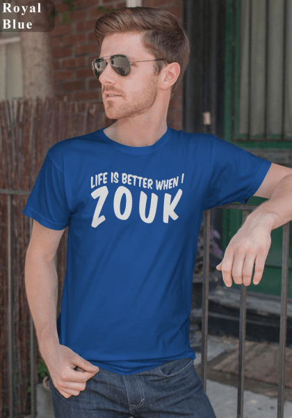 "Man wearing Zouk T-shirt decorated with unique ""Life is better when I Zouk"" design in blue crew neck style"