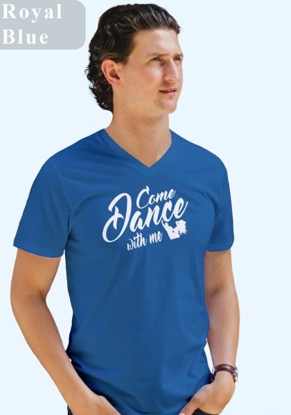 "Man wearing Zouk t-shirt decorated with unique ""Come Dance with me"" design in blue v-neck style"