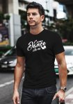 """Man wearing Zouk t-shirt decorated with unique """"Come Dance with me"""" design in black crew neck style"""