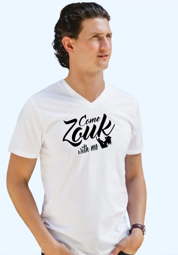 "Man wearing Zouk T-shirt decorated with unique ""Come Zouk with me"" design in white v-neck style"