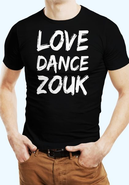 "Man wearing Zouk T-shirt decorated with unique ""Love Dance Zouk"" design in black crew neck style"