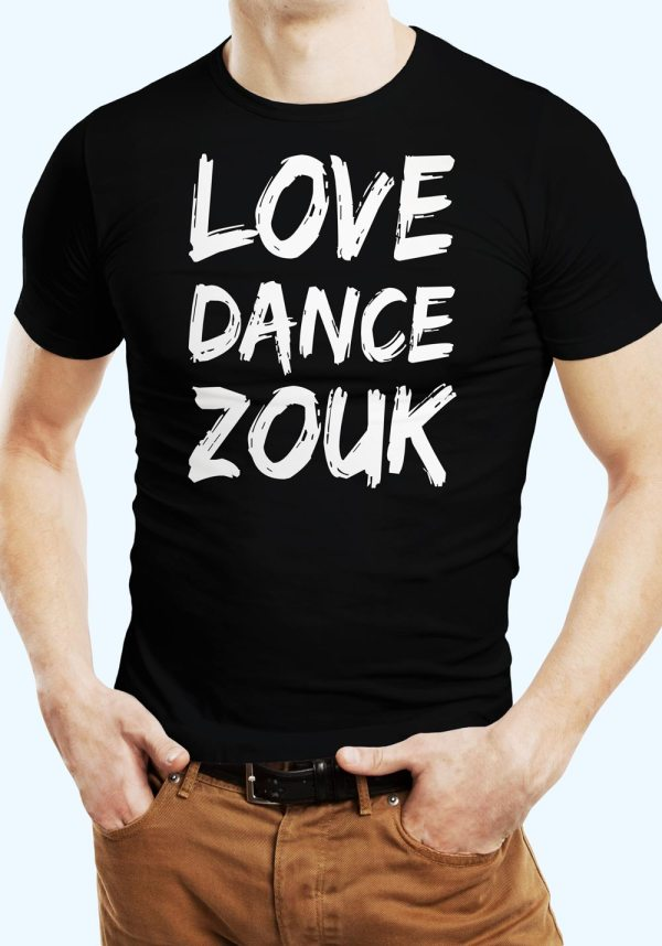 """Man wearing Zouk T-shirt decorated with unique """"Love Dance Zouk"""" design in black crew neck style"""